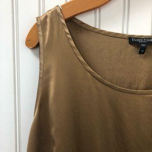 Eileen Fisher Matte Gold Silk Shell